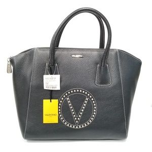 New Mario Valentino Gigi Leather Satchel Bl